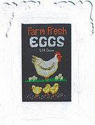 Fresh Eggs Aunt Bea Luhu Stitches Cross Stitch Black and White Speckled Hen Hen