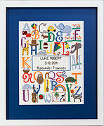 Bright Alphabet Birth Announcement - Cross Stitch Pattern