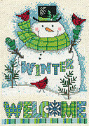 Winter Welcome Snowman - Cross Stitch Pattern