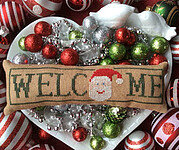 Wee Welcome - December Santa - Cross Stitch Pattern