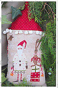 Santa with his Helper - White - Cross Stitch Pattern