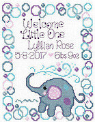 Elephant Baby Birth Record - Cross Stitch Pattern