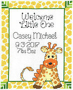 Giraffe Baby Birth Record - Cross Stitch Pattern