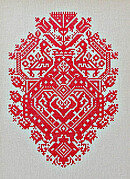 Red Peacock Folk Heart - Cross Stitch Pattern