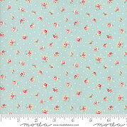 Brenda Riddle Floral Rose Polka Dot Aqua - Fat Quarter