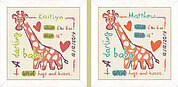 Giraffe  Birth Sampler (USB008) - Cross Stitch Pattern