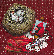 Cardinal Biscornest - Cross Stitch Pattern