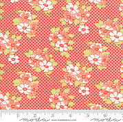 Fig Tree Quilts Basketweave Posies Red - Half Yard