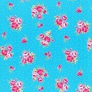 Light Blue Floral and Dots Cotton Fabric Half Yard