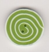 Tiny Swirl - Lime & White - Button