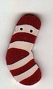 Tiny Red Striped Stocking - Button
