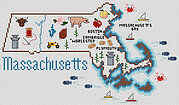 Massachusetts Map - Cross Stitch Pattern
