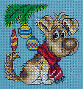 Waiting for a Present - Christmas Cross Stitch Kit