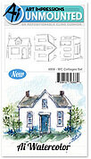 Watercolor Cottages - Cling Stamp Set