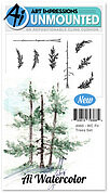 Watercolor Fir Trees - Cling Stamp Set
