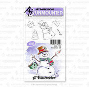 Watercolor Snowman Set - Unmounted Rubber Stamp