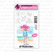 Watercolor Beach Girls - Cling Stamp Set
