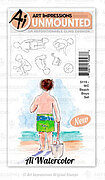 Watercolor Beach Boys - Cling Stamp Set