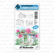 Watercolor Garden Shed - Cling Stamp Set