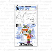 Watercolor Winter Kids - Cling Stamp Set