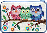 Cosmetic Purse - Owls - Needlepoint Kit