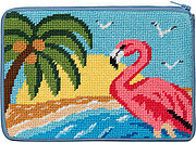Cosmetic Purse - Flamingo - Needlepoint Kit