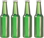 Beer Bottles Set of 4 - Green - Dollhouse Miniature