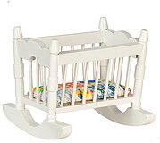 Rocking Cradle - White - Dollhouse Miniature