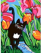 Cat With Tulips - Printed Tapestry Canvas Needlepoint