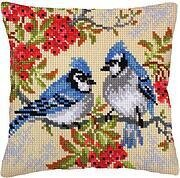 Blue Jays - Stamped Needlepoint Cushion Kit