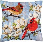 On A Branch Magnolia - Stamped Needlepoint Cushion Kit