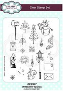 Wintery Icons - Christmas Precut Rubber Stamp