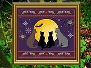 Halloween's Cats & Mice & Moon - Cross Stitch Pattern