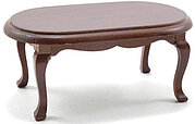 Oval Coffee Table - Walnut - Dollhouse Miniature
