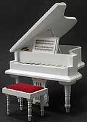 Baby Grand Piano with Stool - White - Dollhouse Miniature