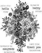 Tim Holtz Cling Stamps - Glorious Bouquet with Grid Block