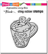 Cocoa Hot Tub - Christmas Cling Rubber Stamp