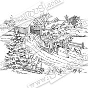 One Horse Sleigh - Christmas Cling Stamp