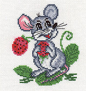 Mouse with Strawberries - Cross Stitch Kit