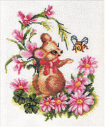 Mouse with Flowers - Cross Stitch Kit