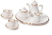 White Ceramic Tea Service - 10 pieces - Dollhouse Miniature