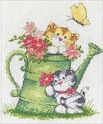 Watering Can Cats - Cross Stitch Kit