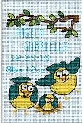 Bird Family Birth Record Stitch and Mat - Cross Stitch Kit