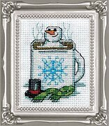 Cocoa Snowman with Frame - Christmas Cross Stitch Kit