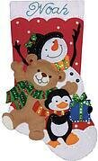 Holiday Friends Christmas Stocking - Felt Applique Kit