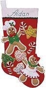 Gingerbread Friends Christmas Stocking - Felt Applique Kit