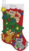 Decorating Kittens Christmas Stocking - Felt Applique Kit