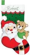 Santa and Teddy Christmas Stocking - Felt Applique Kit