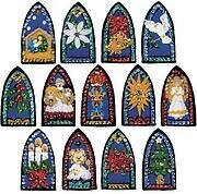 Stained Glass Christmas Ornaments - Felt Applique Kit