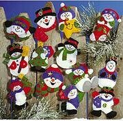 Lots of Fun Snowmen Christmas Ornament - Felt Applique Kit